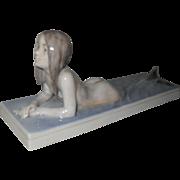 Very Early Rare Royal Copenhagen Nude Mermaid 1212 Lying Down Figurine 1935