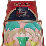 16 Piece Childs Miniature Art Deco Playtime Akro Agate Glass Tea Set 1930's