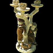 Antique Royal Worcester England Children Dog Figurine Candlestick 1881
