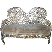 Miniature Sofa Velvet 1880 G. Shiebler Sterling Silver Pin Cushion