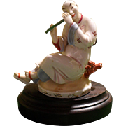 Royal Vienna Wien Austria Asian Man Playing Flute Figurine With Stand 1930
