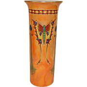 Rare Crown Ducal England Orange Orientalist Butterfly Lusterware Vase 1920's