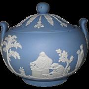 Vintage Wedgwood Blue Jasper Ware Sacrifice Sugar Bowl and Lid