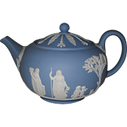 Vintage Wedgwood Blue Jasper Ware Neo Classical 4 Cup Teapot