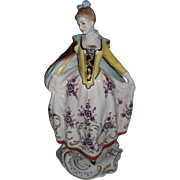 Capodimonte Handpainted Woman Bodice Dress with Flowers and Cape Figurine