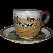Vintage Copeland Lionel Edwards No. 5 & 8 Fox Hounds Equestrian Cup & Saucer