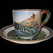 Vintage Copeland Lionel Edwards No. 4 & 9 Fox Hounds Equestrian Cup & Saucer
