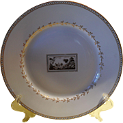 "Richard Ginori Italy Florence Fiesole Pattern White and Gold Dinner Plate 10"""