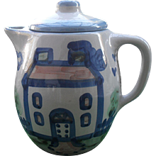 Vintage MA Hadley Coffeepot Farmhouse Country Pattern