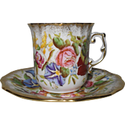Vintage Hammersley Haddon Hall Queen Anne Morning Glory Gilt Gold Demitasse Espresso Cup and Saucer 13166