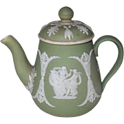 Rare Antique Wedgwood Green Jasper ware Jasperware Childs Toy Coffee Pot