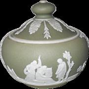 Rare Antique Wedgwood Green Jasper ware Jasperware Miniature  Childs Toy Sugar Bowl