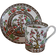 Coalport India Tree Multi Colored Demitasse Cup and Saucer 1891-1920 Older