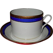 Richard Ginori Italy Palermo Cobalt Blue and Gold Coffee Cup and Saucer