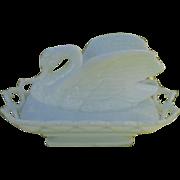 Antique Westmoreland Swan Wing Spread Lattice Large Milk Glass Condiment Dish
