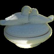 Antique Westmoreland Love Birds Opalescent Milk Glass Condiment Dish