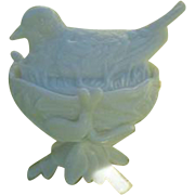 Antique Westmoreland Bird Egg Nest Opalescent Milk Glass Condiment Dish