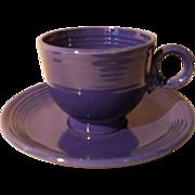 Vintage Fiesta Fiestaware Blue Ring Teacup and Saucer