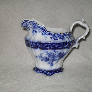 Antique Stanley Pottery England Flow Blue Touraine Pattern Creamer 1899