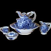Antique Flow Blue Royal Semi Porcelain Wood & Sons Wash Basin Set 1890