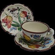 Vintage Italian Faience Floral Tulips Brown Trim Teacup, Saucer Plate Trio