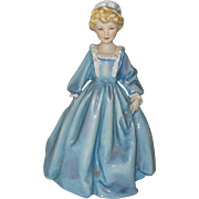 Early Royal Worcester Signed Doughty Grandmother's Dress Blue Puce Figurine 3081