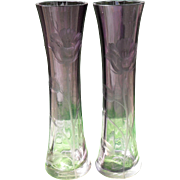 Elegant Moser Karlsbad Pair of Hand Cut Glass Poppy Amethyst Vases