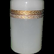 Antique French White Opaline Dresser Jar Box Ormolu