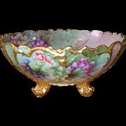 Antique French T & V Limoges Punch Bowl Gold/Gilt Handpainted Signed