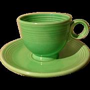 Vintage Fiesta Fiestaware Green Ring Handle Teacup & Saucer