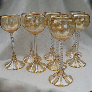 Beautiful Set of 8 Gold Luster Twisted Stem Faceted Wine Glasses
