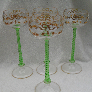 Four Vintage Handpainted Green Twist Stem French Bow Wine Glasses