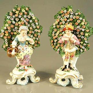 Antique Pair of Dresden Mantle Bocage Flowers Couple