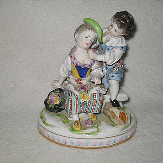 Antique Volkstedt Figurine Young Lovers Flowers