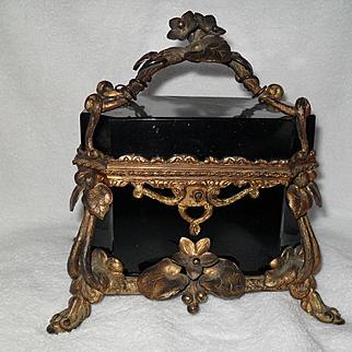 Stunning Black Opaline French Gold Ormolu Jewelry Casket Box