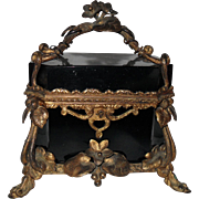 Stunning Black Opaline French Gold Ormolu Jewelry Casket Box