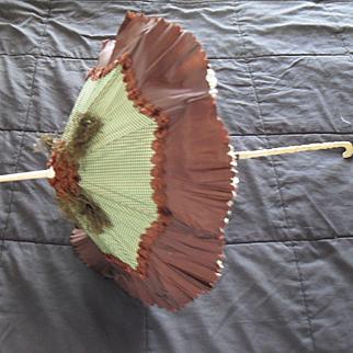 Antique Doll Child Victorian Silk Parasol Bone Handle and Box
