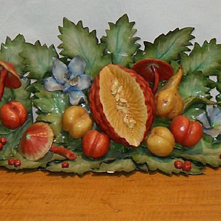 Stunning Katherine Houston Porcelain Mantlepiece Fruit and Leaves PAP OOAK