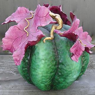 Katherine Houston Boston Ceramic Green Melon Centerpiece Decor 1991 KHO PAP