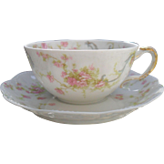 Haviland Limoges The Princess Teacup and Saucer Pink Roses/Blue Ribbons