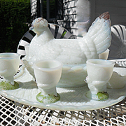 Antique Vallerysthal Portieux White Opalescent Milk Glass Hen on Nest with Eggcups and Tray