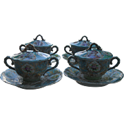Exquisite Antique Moriage Nippon Robin's Egg Blue Geisha Music Covered Cream Soups with Saucers