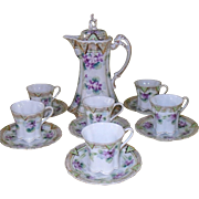 Vintage Nippon Purple Violets Chocolate or Coffee Pot with Matching Cups and Saucers