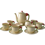 Rare Royal Winton Grimwades Cream Tiger Lily 5773 Coffee Service for Six