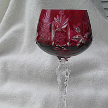 Nachtmann Traube Deep Ruby Cut to Clear Wine Glass 8""