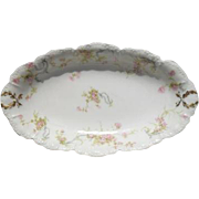 Haviland Limoges The Princess Oval Relish Dish Pink Roses/Blue Ribbons