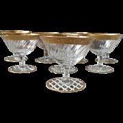 Elegant Set of 8 Vintage Gold Encrusted Wine Glasses