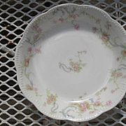 "Haviland Limoges The Princess Berry Bowl Pink Roses/Blue Ribbons 5 3/4"""