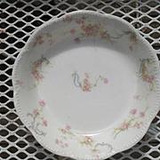 "Haviland Limoges The Princess Cereal Bowl Pink Roses/Blue Ribbons 6"""