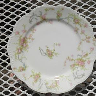 """Haviland Limoges The Princess Bread Plate Pink Roses/Blue Ribbons 6 1/4"""""""